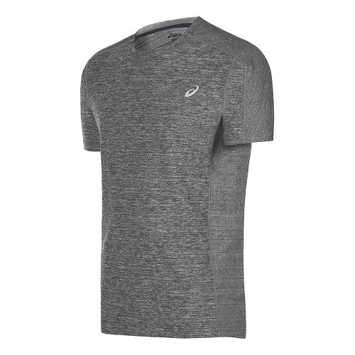 Mens ASICS Lite-Show Short Sleeve Technical Tops - Midgrey Heather S