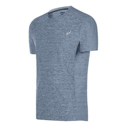 Mens ASICS Lite-Show Short Sleeve Technical Tops - Powder Blue Heather M