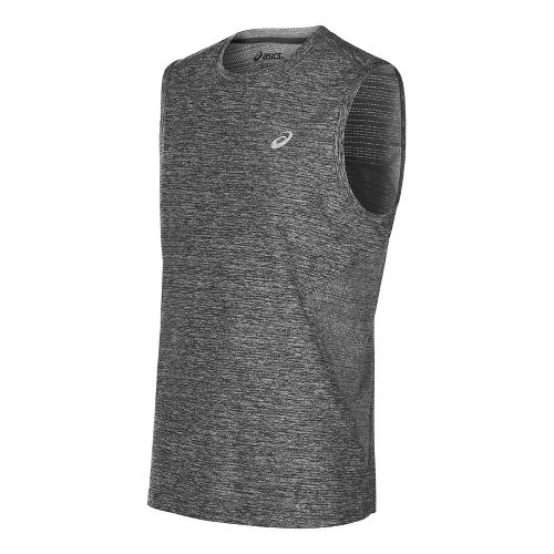 Mens ASICS Lite-Show Sleeveless Short Sleeve Technical Tops - Midgrey Heather M
