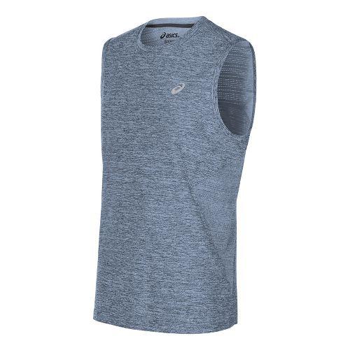 Mens ASICS Lite-Show Sleeveless Short Sleeve Technical Tops - Powder Blue Heather XL