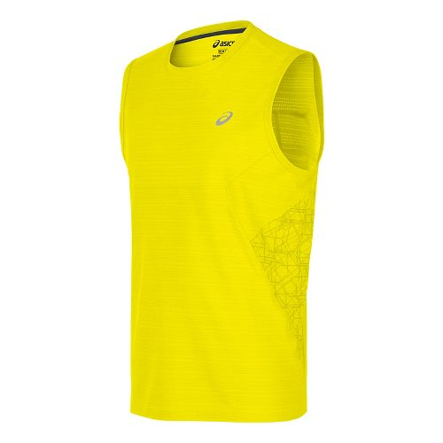 Mens ASICS Lite-Show Sleeveless Short Sleeve Technical Tops - Safety Yellow M