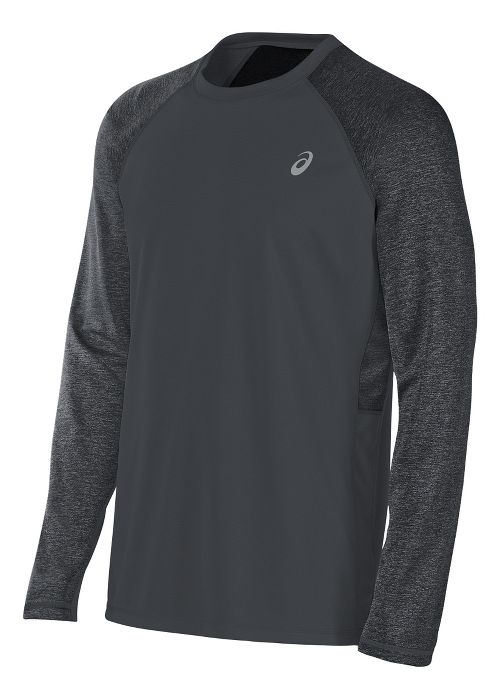 Mens ASICS Reversible Long Sleeve Technical Tops - Dark Grey Heather L