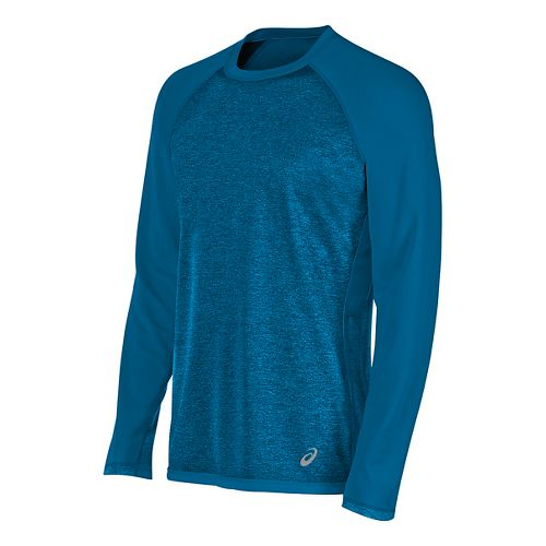 Mens ASICS Reversible Long Sleeve Technical Tops - Thunder Blue Heather S