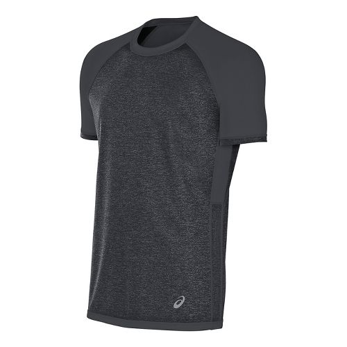 Mens ASICS Reversible Short Sleeve Technical Tops - Dark Grey Heather L