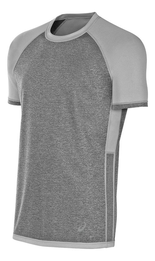Mens ASICS Reversible Short Sleeve Technical Tops - Midgrey Heather L