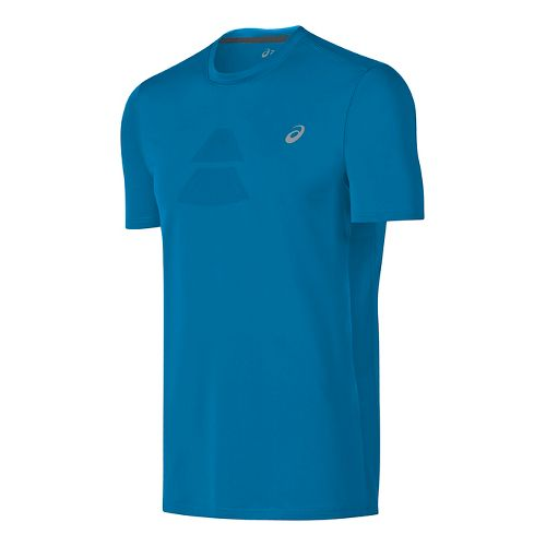 Mens ASICS Crew Short Sleeve Technical Tops - Thunder Blue M