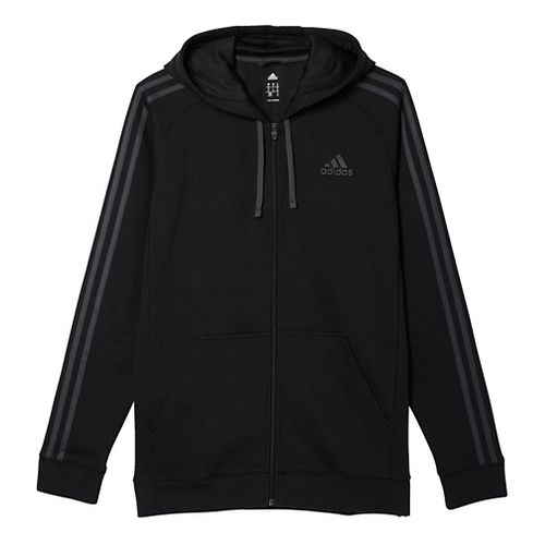 Mens Adidas Essential Cotton Fleece Full-Zip Casual Jackets - Black/Solid Grey L
