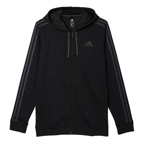 Mens Adidas Essential Cotton Fleece Full-Zip Casual Jackets - Black/Solid Grey M