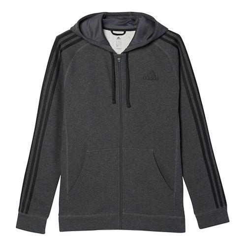 Mens Adidas Essential Cotton Fleece Full-Zip Casual Jackets - Dark Grey/Black S