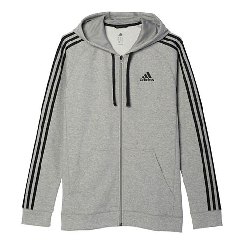 Mens Adidas Essential Cotton Fleece Full-Zip Casual Jackets - Medium Grey/Black XL