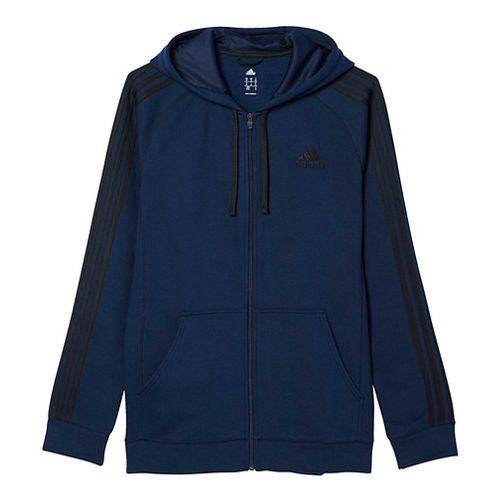 Mens Adidas Essential Cotton Fleece Full-Zip Casual Jackets - Navy/Black 2XL