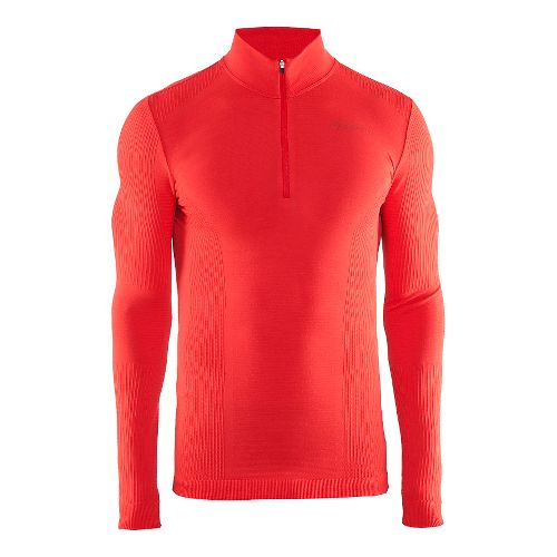 Mens Craft Wool Comfort Half-Zips & Hoodies Technical Tops - Drama Red M