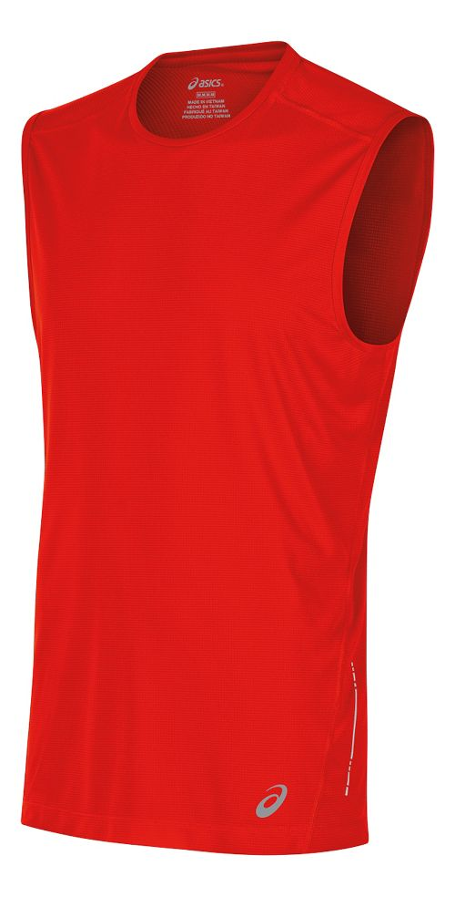 Mens ASICS Sleeveless & Tank Tops Technical Tops - Fiery Red S