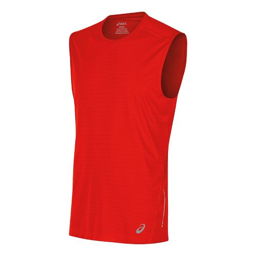 Mens ASICS Sleeveless & Tank Tops Technical Tops - Fiery Red L