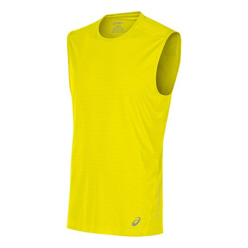 Mens ASICS Sleeveless & Tank Tops Technical Tops - Safety Yellow L