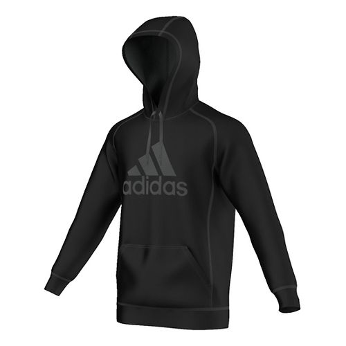 Mens Adidas Essential Cotton Fleece Pull-Over Half-Zips & Hoodies Technical Tops - Black/Solid ...