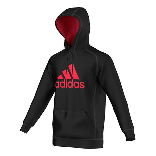 Mens Adidas Essential Cotton Fleece Pull-Over Half-Zips & Hoodies Technical Tops - Black/Red M