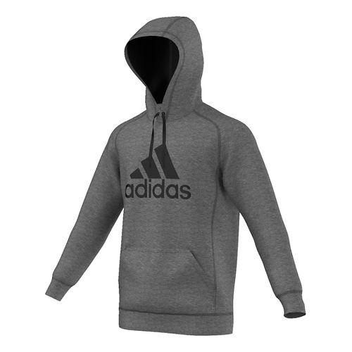 Mens Adidas Essential Cotton Fleece Pull-Over Half-Zips & Hoodies Technical Tops - Dark ...