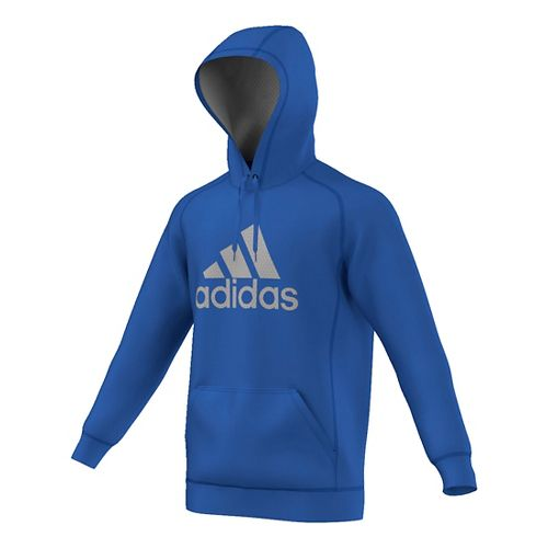 Mens Adidas Essential Cotton Fleece Pull-Over Half-Zips & Hoodies Technical Tops - Blue/Solid ...