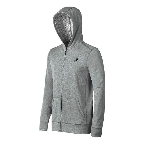 Mens ASICS Tech Half-Zips & Hoodies Technical Tops - Midgrey Heather S