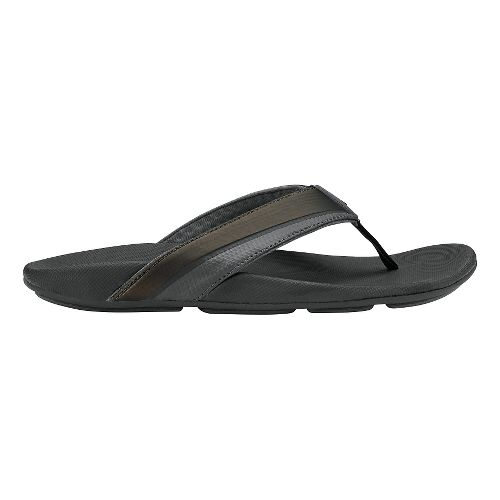 Mens Olukai Halu'a Sandals Shoe - Black/Black 14