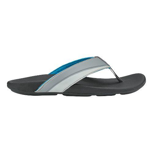 Mens Olukai Halu'a Sandals Shoe - Grey/Black 7