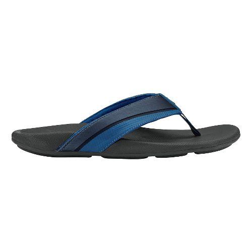 Mens Olukai Halu'a Sandals Shoe - Trench Blue/Black 8