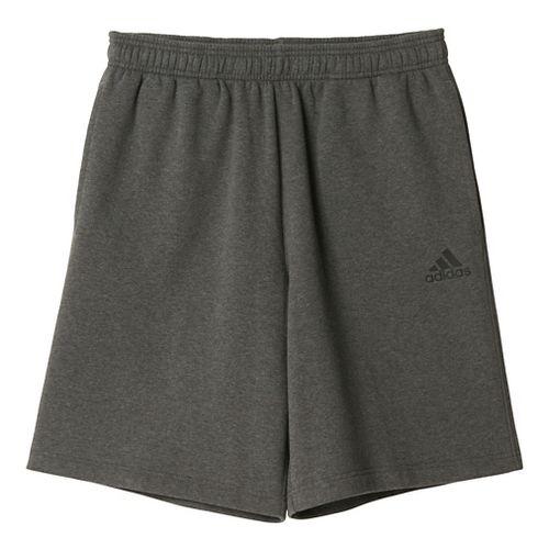 Mens Adidas Essential Cotton Fleece Lined Shorts - Dark Grey/Black L