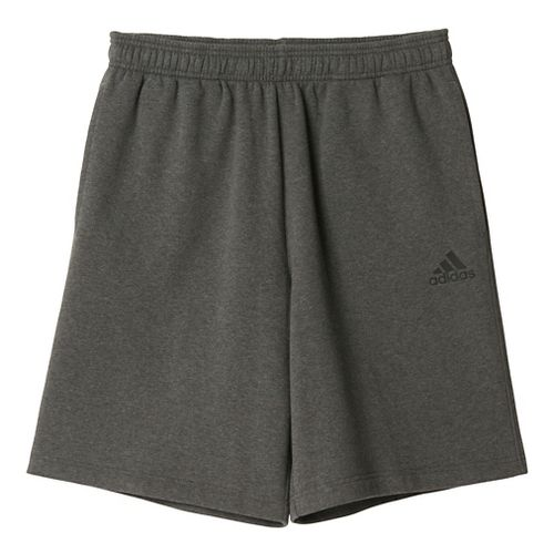 Mens Adidas Essential Cotton Fleece Lined Shorts - Dark Grey/Black S