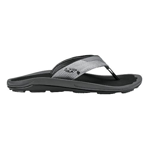 Mens Olukai Makolea Sandals Shoe - Dark Shadow/Black 14