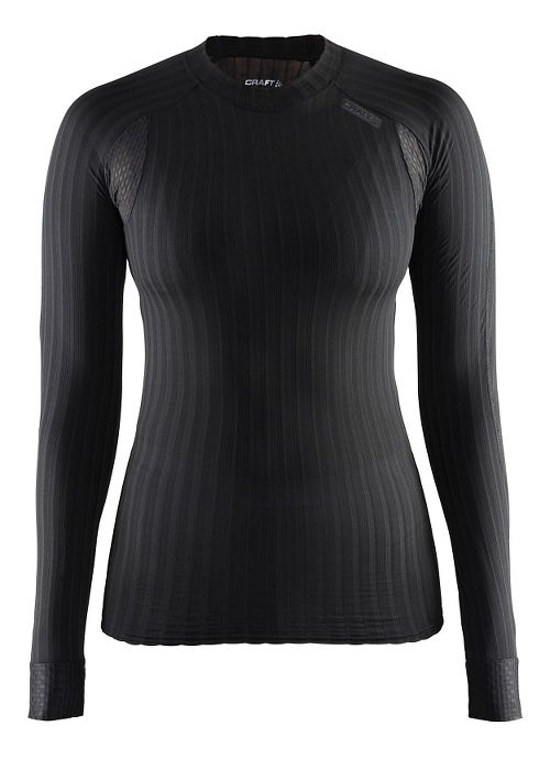 Womens Craft Active Extreme 2.0 Crewneck Long Sleeve Technical Tops - Black S