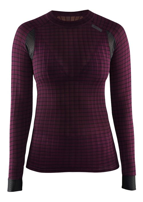 Womens Craft Active Extreme 2.0 Crewneck Long Sleeve Technical Tops - Space/Black M