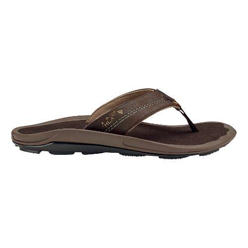 Mens Olukai Kipi Sandals Shoe - Dark Wood/Dark Wood 12