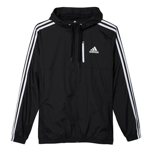 Mens Adidas Essential Woven Casual Jackets - Black/White XL