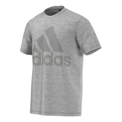 Mens Adidas Basic Logo Tee Short Sleeve Technical Tops - Solid Grey S