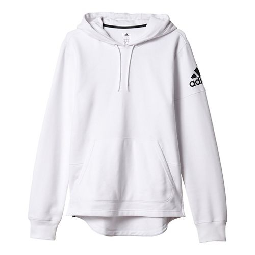 Mens Adidas Postgame Pull-Over Half-Zips & Hoodies Technical Tops - White/Black L