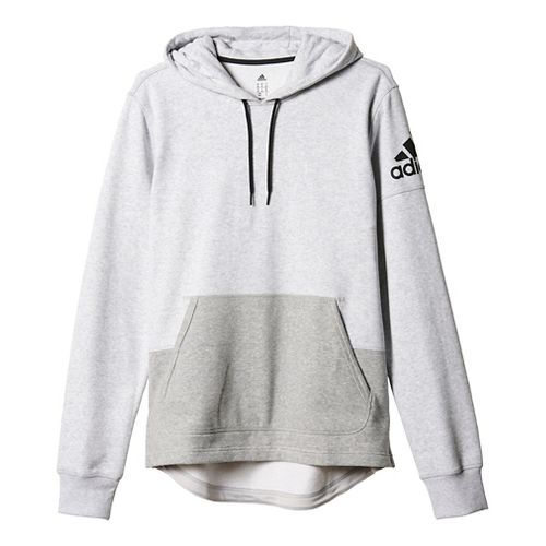 Mens Adidas Postgame Pull-Over Half-Zips & Hoodies Technical Tops - Light Grey/Black 2XL