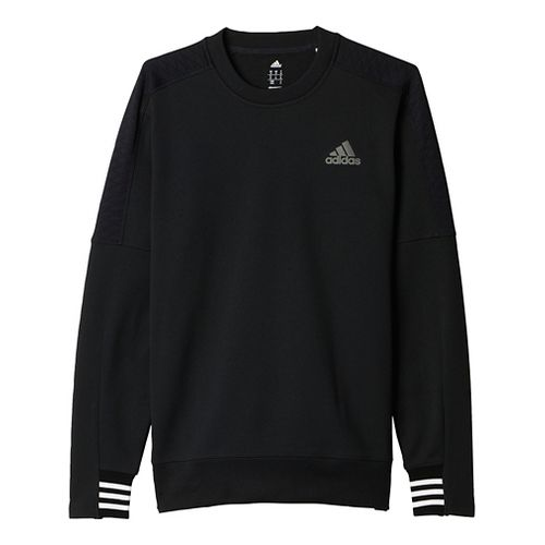 Mens Adidas Sport ID Crew Long Sleeve Technical Tops - Black L