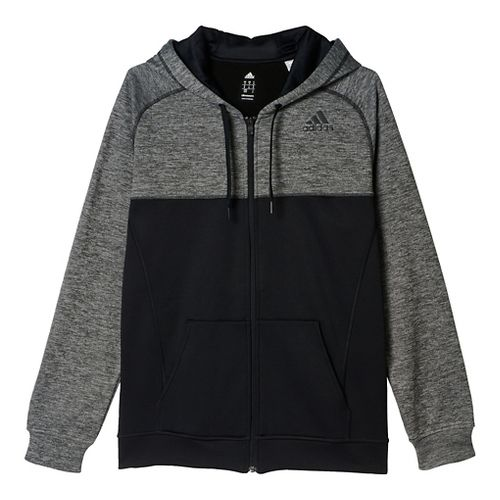 Mens Adidas Team Issue Fleece Full-Zip Hoodie Casual Jackets - Dark Grey/Black L