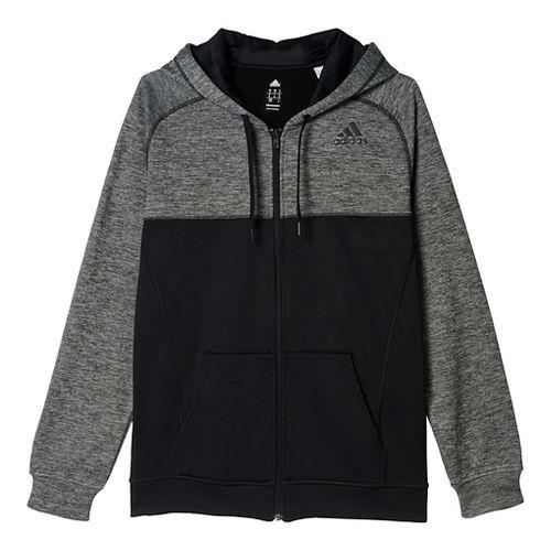 Mens Adidas Team Issue Fleece Full-Zip Hoodie Casual Jackets - Dark Grey/Black M