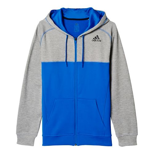 Mens Adidas Team Issue Fleece Full-Zip Hoodie Casual Jackets - Light Grey/Blue S