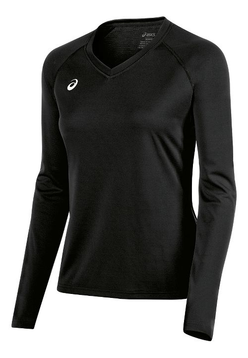 Womens ASICS Circuit 8 Warm-Up Long Sleeve Technical Tops - Black XL