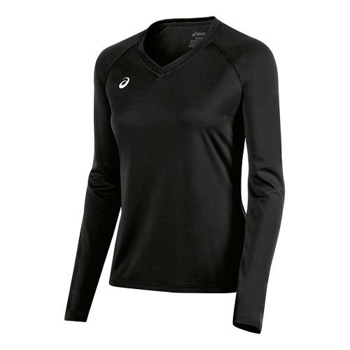 Womens ASICS Circuit 8 Warm-Up Long Sleeve Technical Tops - Black XL
