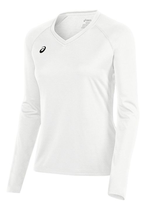 Womens ASICS Circuit 8 Warm-Up Long Sleeve Technical Tops - White XS