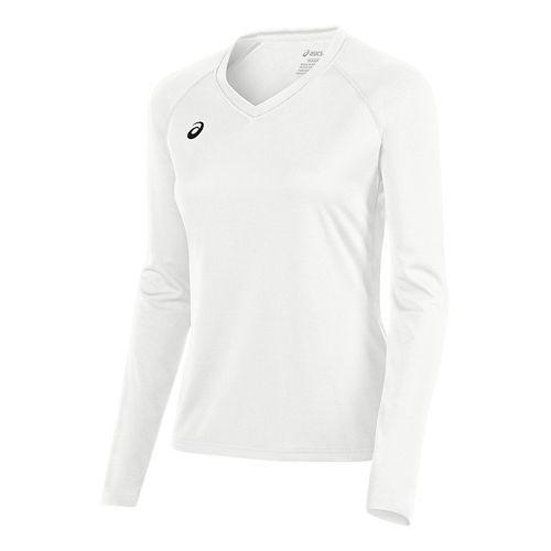 Womens ASICS Circuit 8 Warm-Up Long Sleeve Technical Tops - White XXL