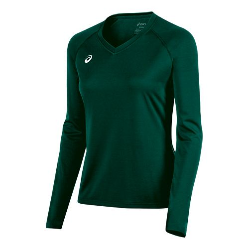Womens ASICS Circuit 8 Warm-Up Long Sleeve Technical Tops - Forest M