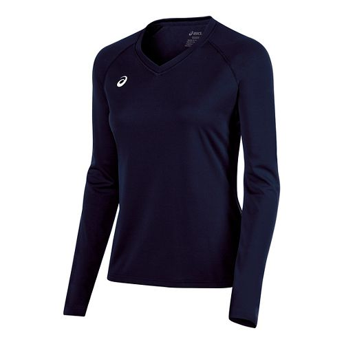 Womens ASICS Circuit 8 Warm-Up Long Sleeve Technical Tops - Navy XXL