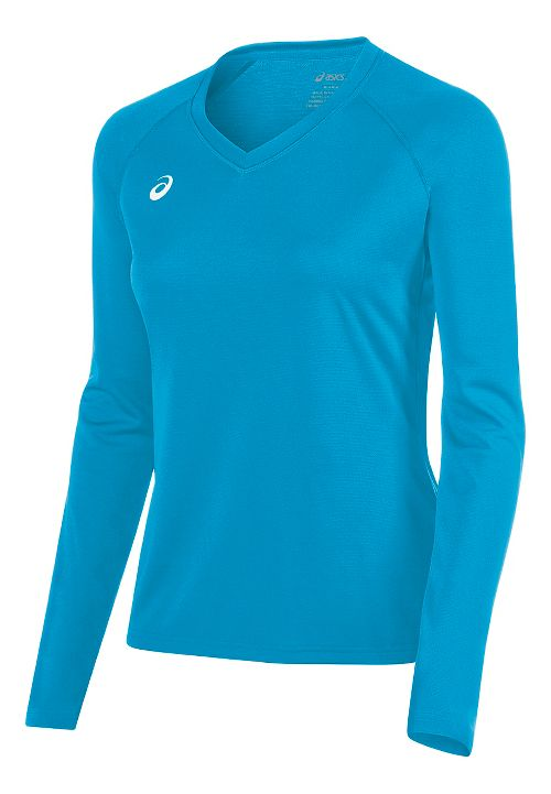 Womens ASICS Circuit 8 Warm-Up Long Sleeve Technical Tops - Atomic Blue M