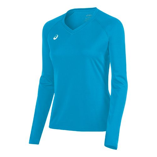 Womens ASICS Circuit 8 Warm-Up Long Sleeve Technical Tops - Atomic Blue L