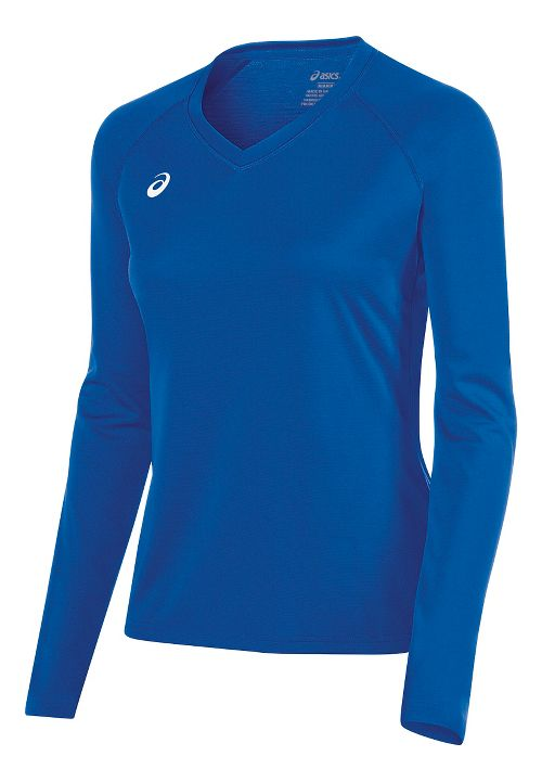 Womens ASICS Circuit 8 Warm-Up Long Sleeve Technical Tops - Royal XS